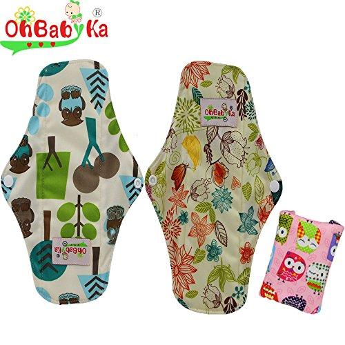 UPC 606220074977, OHBABYKA Bamboo Reusable Sanitary Napkins Pads for Women (Multi-colored, 3pcs)