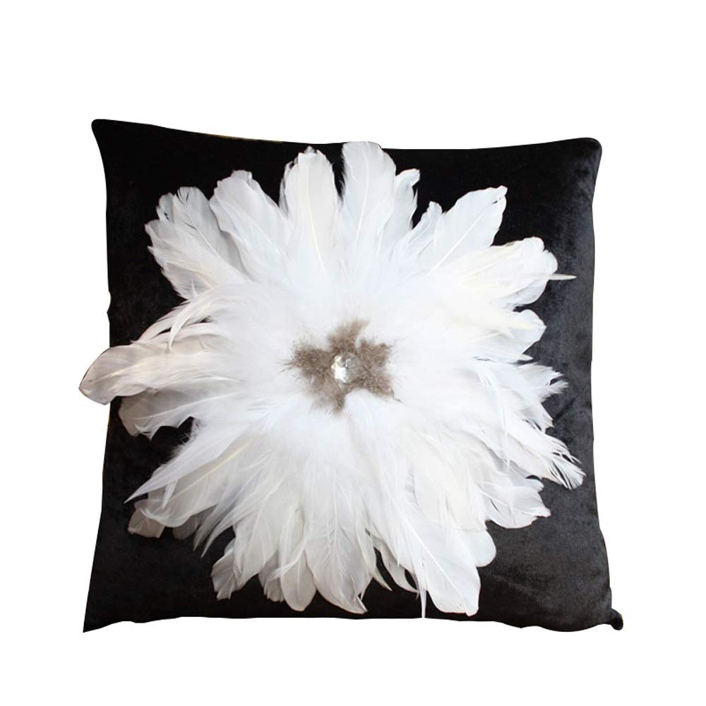 Sunny Lingt Rhinestone Big Feather White Black Living Room Sofa Pillow Cushion European Light Luxury Atmosphere Fashion Pillow Bed Support Core (Size : 60X60)