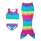 Growing Wild Girls Fancy Swimmable Mermaid Tail 3-Piece Tank Top Swimsuit Bikini