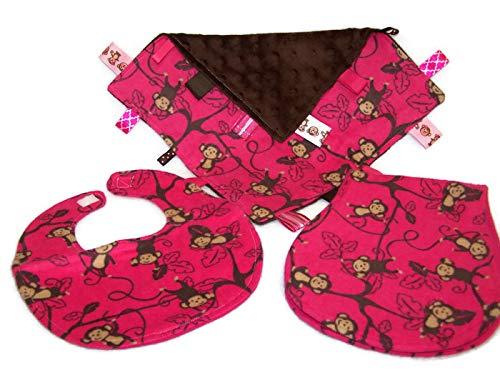 - Hot Pink Monkeys Bib, Burp Cloth & Lovie Baby Girl Gift Set