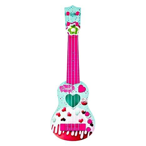 Foxom Guitarra Electrica Niños - 4 Cuerdas Infantil Rock Guitarra Juguetes con Luz - Instrumento Musical