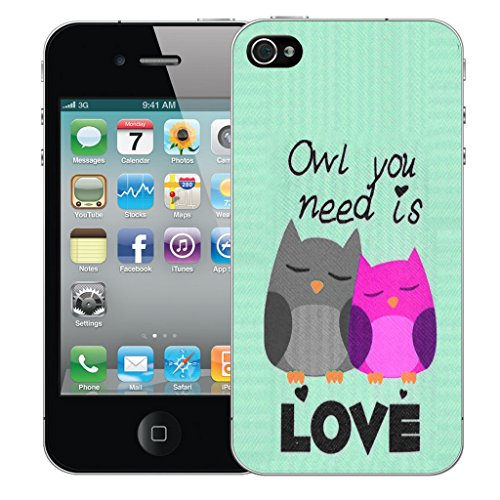 Mobile Case Mate iPhone 4s Silicone Coque couverture case cover Pare-chocs + STYLET - Black Cute Owls pattern (SILICON)