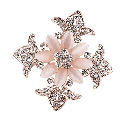 Pink Cat's Eye Stone Cross Flowers Crystal Leaf Brooch Pin Uniform Accessories for Women Christmas Gifts (Skull Cross Pink Flowers)