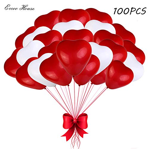 (Eccoo House 100 PCS Heart Balloons 12 Inches Red and White Latex Balloons for Wedding Decorations,Valentines Day,Bride Shower,Birthday Party,Christmas Party Decoration )