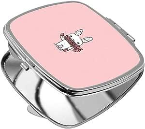 مرآة جيب، شكل مربع، بتصميم رسوم كرتونية - ارنب