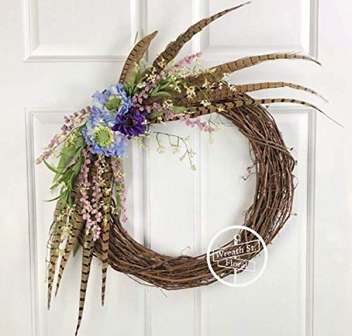 Pheasant Feathers And Wildflowers Wreath - Feather Wreaths Pheasant