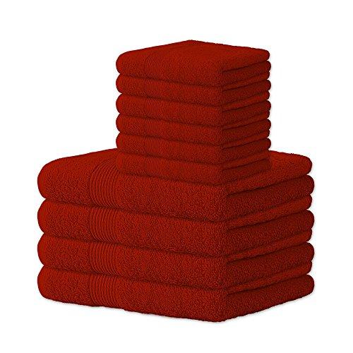 10 tlg. flauschiges Handtuch-Set | 13 moderne Farben und viele Größen | 100% Baumwolle Frottee Qualität ca. 500g/m² | 10 teilig | 6x Gästehandtuch 30 x 50 cm 4x Handtuch 50 x 100 cm | Serie Bari | CelinaTex 0002071 | rot