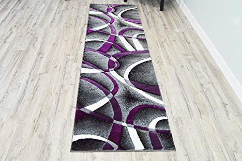 - PlanetRugs Inc Premium 3D Effect Hand Carved Modern Abstract 2x7 2x8 Runner Colorful Luxury Rug for Bedroom, Living Room, Dining Room Contemporary 2305 Grey Gray Purple