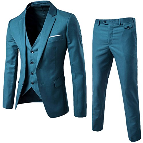 WEEN CHARM Mens Suits 2 Button Slim Fit 3 Pieces Suit - Suit Blue Fit Slim