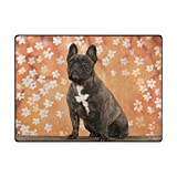 Vantaso Soft Foam Area Rugs French Bulldog Autumn Non Slip Play Mats 80x58 inch for Kids Playing Living Room