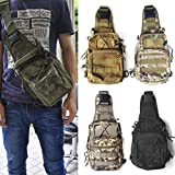MinoCat Military Outdoor Waterproof Tactical Duffel Canvas Shoulder Sling Bags Chest Deployment Packs Molle Sporting Bags for Camping,Hiking,Climbing,Trekking(ACU Camouflage, Black, Camouflage, Tan)