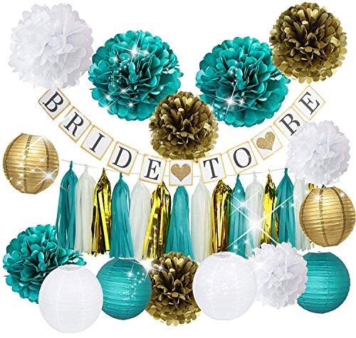 Furuix Bride Shower Decorations Bride to Be Banner White Teal Gold Tissue Pom Pom Paper Lanternd Tassel Garland for Hen Party/Bachelorette Party Decorations Kit - Bridal Shower Supplies