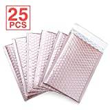 Fu Global Metallic Bubble Mailers 6x10 inch Rose Gold Self Seal Padded Envelopes Pack of 25