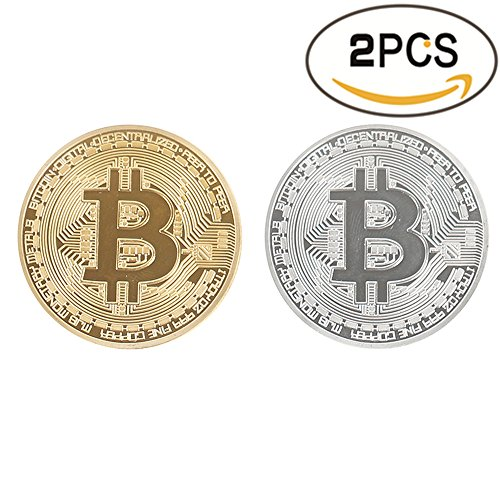 Bitcoin Coin Deluxe Collector's Set | Featuring the Limited Edition Original Gold and Silver Commemorative Tokens by Zcccom | Each Coin Comes w/ a Plastic Round Display Case