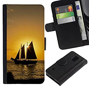Caso Billetera de Cuero Titular de la tarjeta y la tarjeta de crédito de la bolsa Slot Carcasa Funda de Protección para Samsung Galaxy S5 V SM-G900 Sunset Ship Beautiful Nature 10 / J