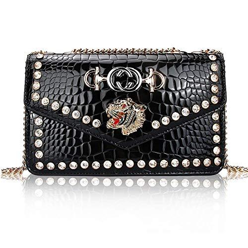 (Meeto Designer Shoulder Bag for Women, Fashion Tiger Leather Crossbody Purse Bag (Black))