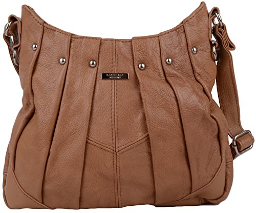 Tan Adjustable Shoulder Strap Long Tote dark Bag Leather Design With Real Pleated And a7pqxBAS