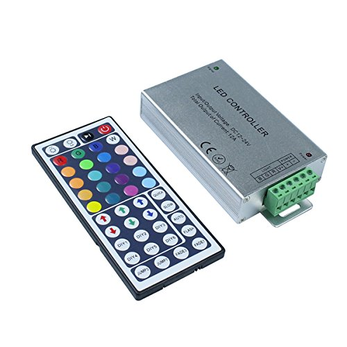 KPBOTL DC12-24V 12A RGB led controller, IR controller with 44 Key Remote control,Aluminum light controller for 3528 5050 RGB led strips by KPBOTL