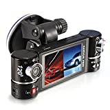 Skmei Dual Lens 2.7'' 16:9 HD Display Car Camera Vehicle DVR Dash Cam Two Lens Rotate by 180° Video Recorder F600 Motion Detection Eight Night Vision Infrared Lights SOS Button