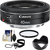 Canon EF 40mm f/2.8 STM Pancake Lens with UV Filter + Hood + Cleaning Kit for EOS 6D, 70D, 5D Mark II III, Rebel T3, T3i, T4i, T5, T5i, SL1 DSLR Cameras