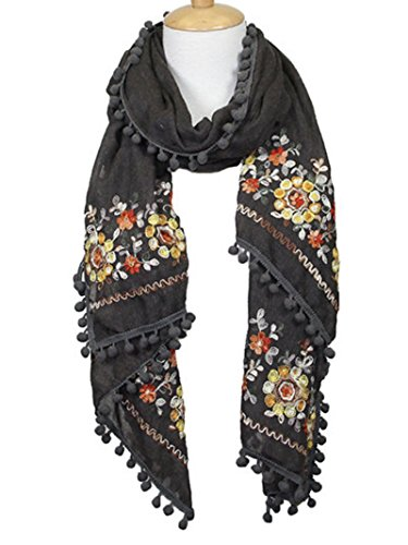 - Charcoal Grey Embroidered Paisley Pom Pom Lightweight Scarf