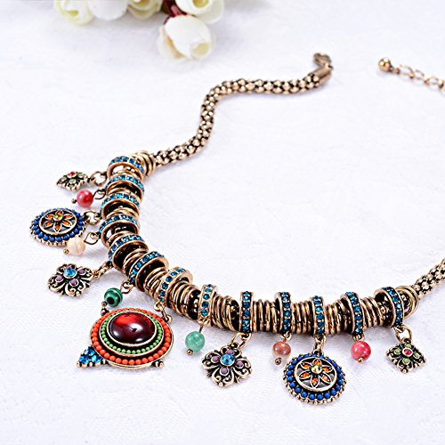 Bohemian Enamel Multicolor Round Pendants Vintage Rhinestone Ethnic Necklace For Women