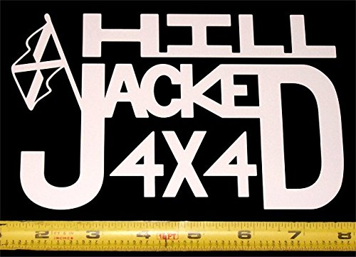 Hill Jacked 4x4 - HQ Single Color High Gloss White 7 in. x 4.5 in. Vinyl Decal! (Jeep Awd Bike)