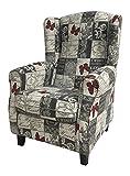 SuenosZzz-Wingback armchair. Perfect nursing chair. Upholstery fabric Jacquard Butterflies. Size: 104 X 76 X 74.