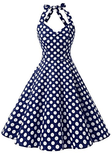 Cupcake Costumes Toddler Old Navy (Toping Fine Women Vintage Polka Dot Swing Party Picnic Costume Dresses Halter Navy White DotLarge)