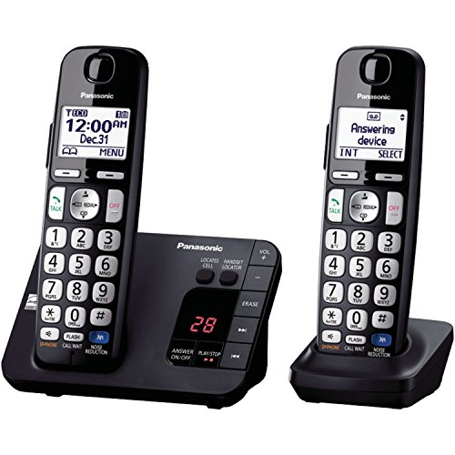 Panasonic KX-TGE233B DECT 6.0 Plus Technology (1.9GHz) Wall Mountable Range Extender Compatible Expandable Cordless Digital Phone with Large Keypad – 3 Handsets