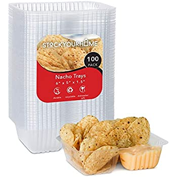 Nacho Trays (100 Pack) Disposable 2 Compartment Food Tray - 6 x 5 Nacho Tray - Clear Plastic Chip and Dip Holder for Movie Theater Concession Stand, Carnivals, Fairs, Festivals, Kids Parties, 12 Ounce