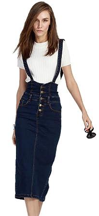 e116ae77f1b Plaid Plain Women s Adjustable Strap Pencil Bodycon Midi Suspender Denim  Skirt 0