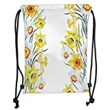 Custom Printed Drawstring Sack Backpacks Bags,Daffodil,Spring Flowers Composition Meditation for Blossoming Results Natural Print,Yellow White Red Soft Satin,5 Liter Capacity,Adjustable String Closure