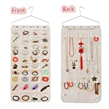 LZMU Hanging Jewelry Organizer,Jewelry Accessory Storage Bag,Necklace Earrings Bracelet Holder with Metal Hanger