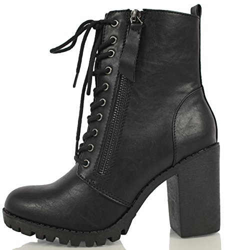 SODA Women's Malia Faux Leather Lace Up Chunky Ankle Boot, Black, 8.5 M US