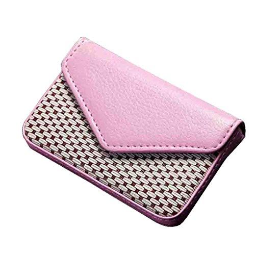 YJYdada Leather Business Name Card Holder Case Wallet Credit Book with Magnetic Shut (Pink)