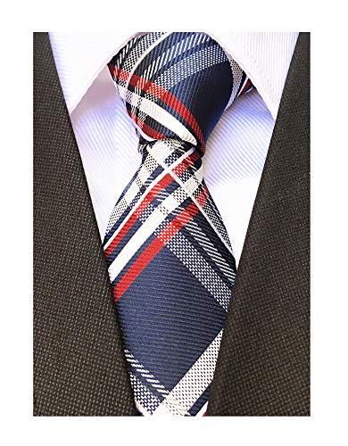 (Mens Narrow Woven Silk Tie Regular Soft Business Work Boys Uniform Necktie Navy Blue Red White)