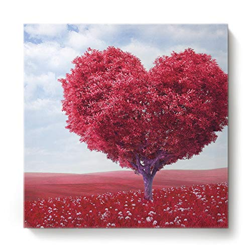 Square Canvas Wall Art Oil Painting for Bedroom Living Room Home Decor,Red Heart-Shaped Rose Pattern Happy Valentine's Day Office Artworks,Stretched by Wooden Frame,Ready to Hang,28 x 28 Inch ()