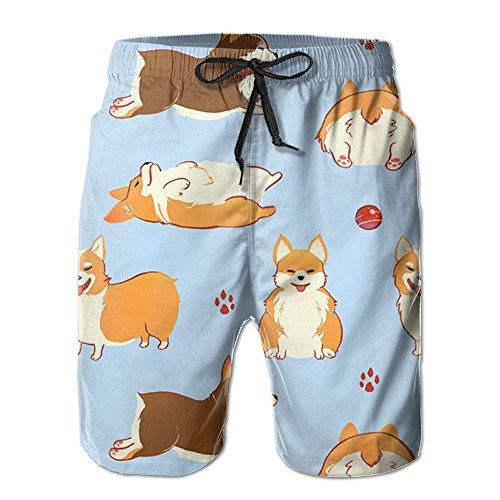 Corgi Dog 2017 Fiery Pull On Short Pants Men