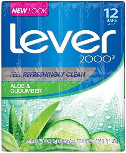 Lever 2000 Bar Soap, Aloe & Cucumber, 4 oz, 12 Bar