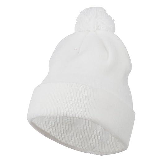 0c71ae3f47be6 Amazon.com: MG Pom Beanie with Cuff - White OSFM: Clothing
