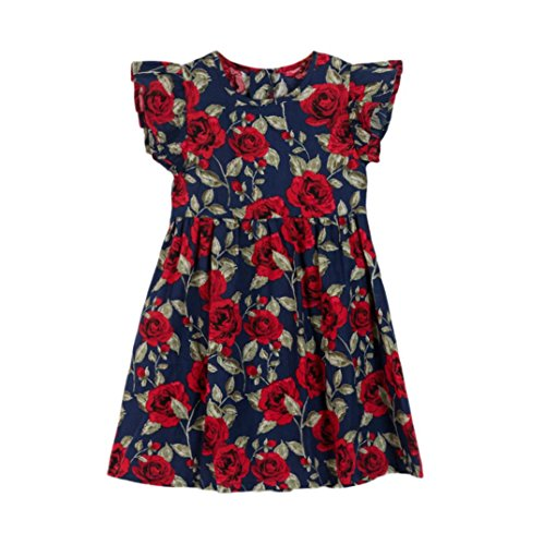 vermers Hot Sale Baby Girls Kids Dresses - Infant Toddler Floral Sleeveless Party Clothes Princess Dress(18M, Dark Blue) -