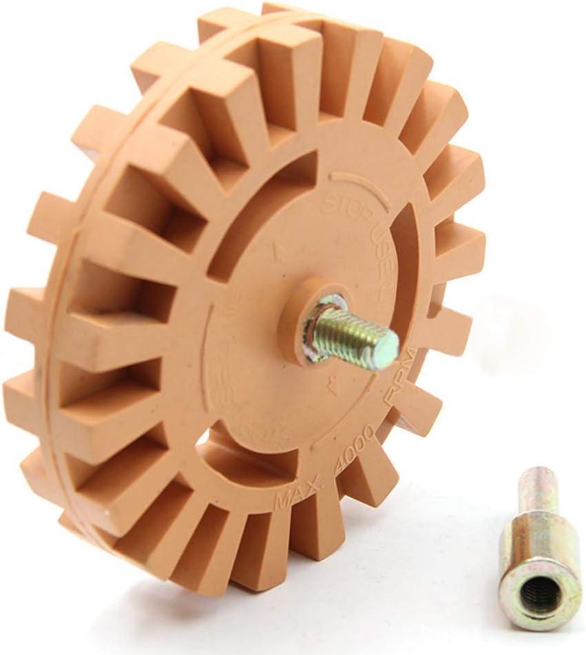 GOLRISEN Disco de Goma para Quitar Adhesivos con Adaptador, Disco para Eliminar Adhesivos, 4000 R.P.M, Ideal para Sacar Vinilos de Vehículos, Coche, Moto y Más