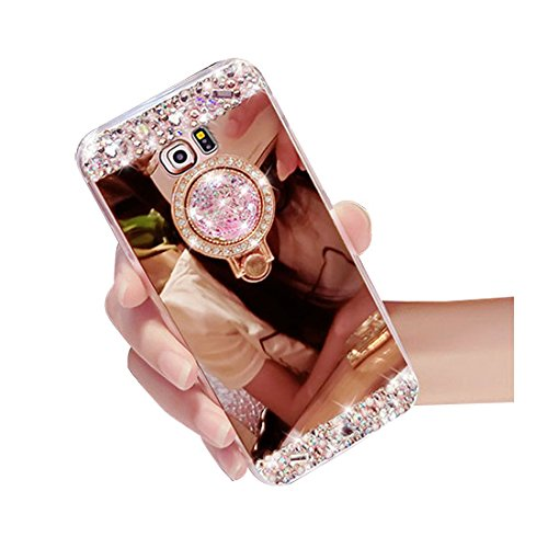 Galaxy Note 8 Case Bling,Shinetop Luxury Diamond Glitter Crystal Rhinestone Soft TPU Rubber Bumper Mirror Makeup Case Cover with 360 Degree Ring Stand Holder for Samsung Galaxy Note 8 2017-Rose Gold