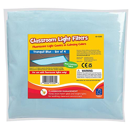 Educational Insights Fluorescent Light Filters (Tranquil Blue), Set of - Light Cover Has