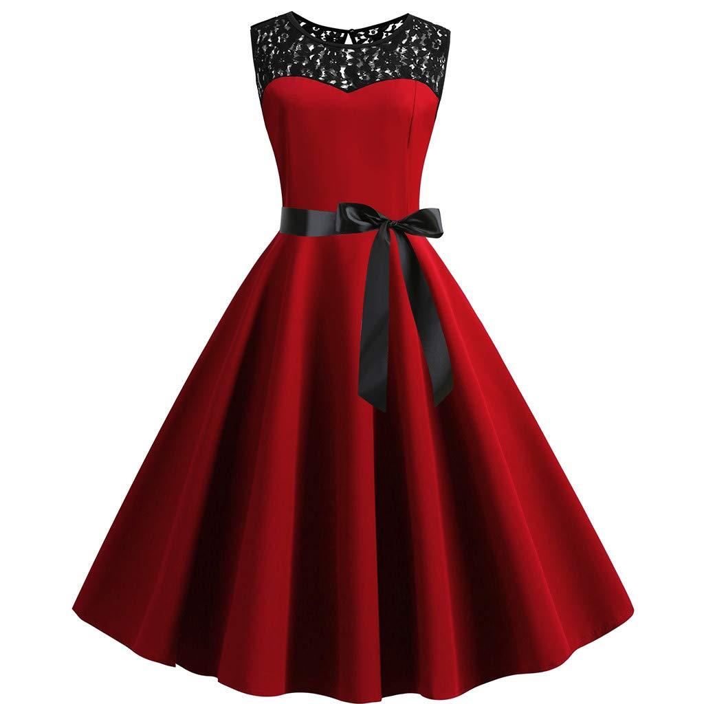 Women's Audrey Hepburn Rockabilly Vintage Sleeveless Dress 1950s Retro Cocktail Swing Party Dress (2XL, Red) by sweetnice Women Dresses