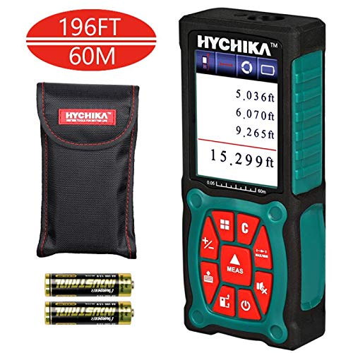 (Laser Measure, HYCHIKA 196 Feet Laser Distance Measure with Electronic Level Function, Accuracy ±1/16inch with Color LCD Display, 2 Laser Modules and 4 Units for m/in/ft/ft+in, 2 AA)