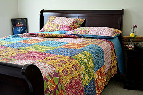 Tache Spring Lakeside Garden Floral Paisley Multi Colorful Reversible 3 Piece Bedspread Quilt Set, California King