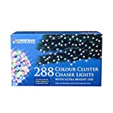 The Christmas Workshop 288 LED Chaser Cluster String Lights, Multi-Coloure