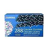 The Christmas Workshop 288 LED Chaser Cluster String Lights, Multi-Coloure